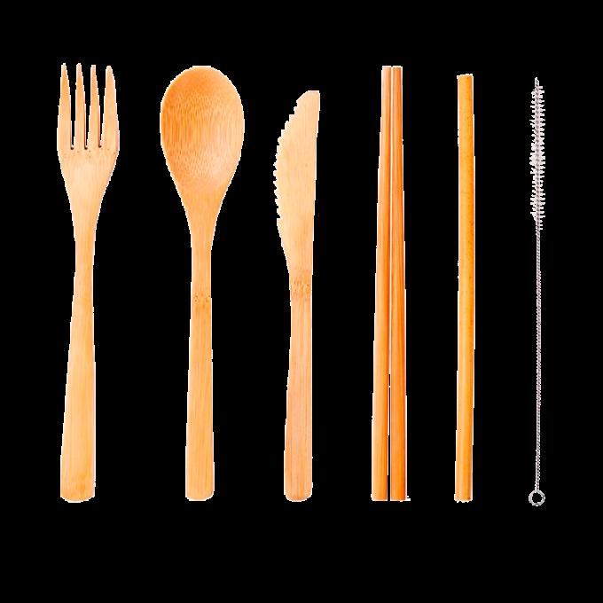 set de cubiertos de bambú, tenedor, cuchara, cuchillo palillos, pajita y cepillo